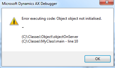 Object object not initialised error